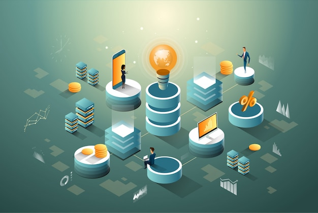 Negócio central digital Vetor Premium