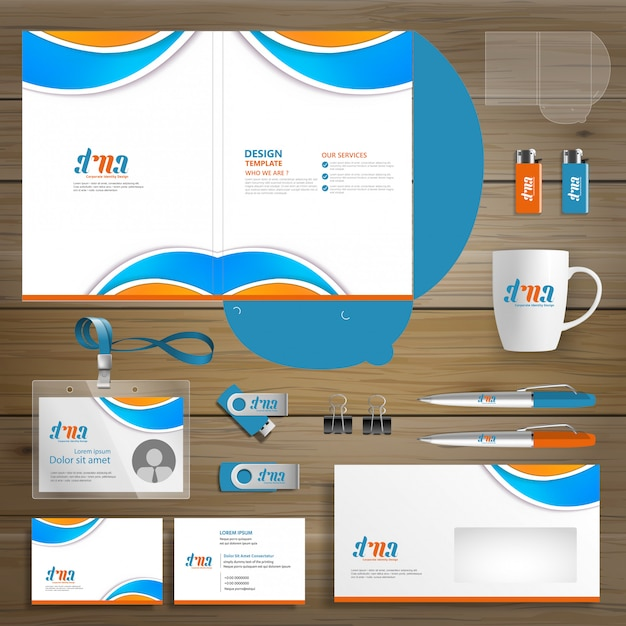 Negócio corporativo folder technology stationery company Vetor Premium