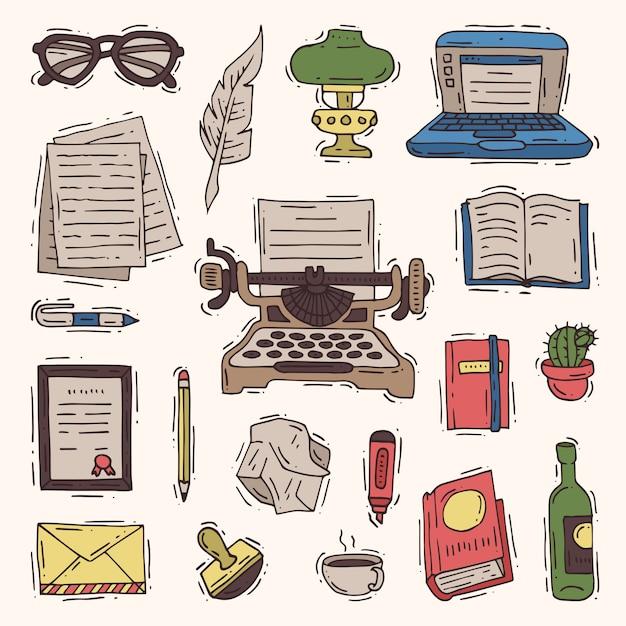 Negócio de escritório escritor na máquina de escrever e copywriter livro em papel no caderno ilustração copywriting conjunto isolado Vetor Premium