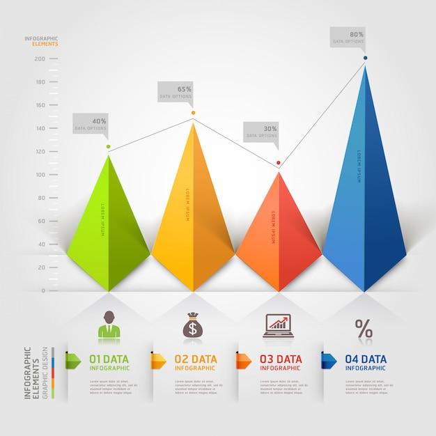 Negócio de infográficos de triângulo 3d. Vetor Premium