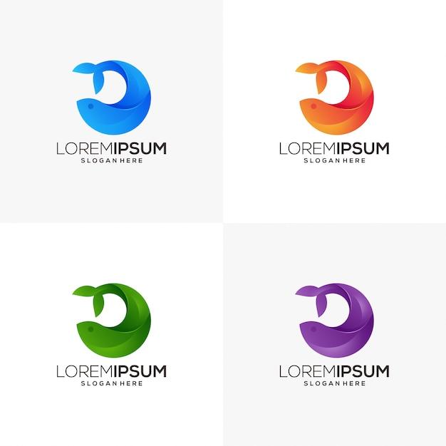Negócio de logotipo de baleia Vetor Premium