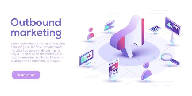 Negócio de marketing de saída em design isométrico. fundo de marketing offline ou de interrupção. Vetor Premium