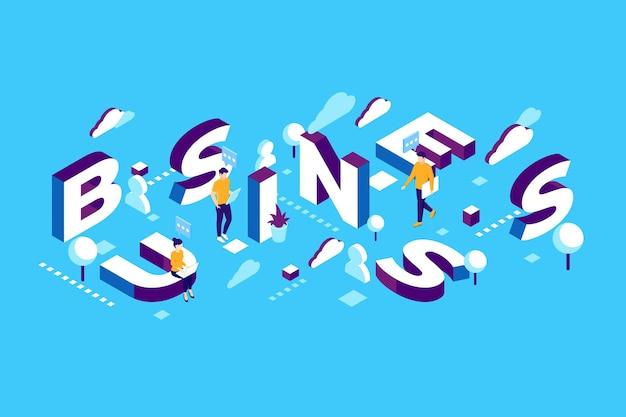 Negócio de mensagem de tipografia isométrica Vetor grátis