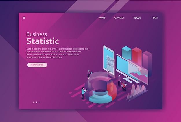 Negócio de página de destino de design isométrico Vetor Premium