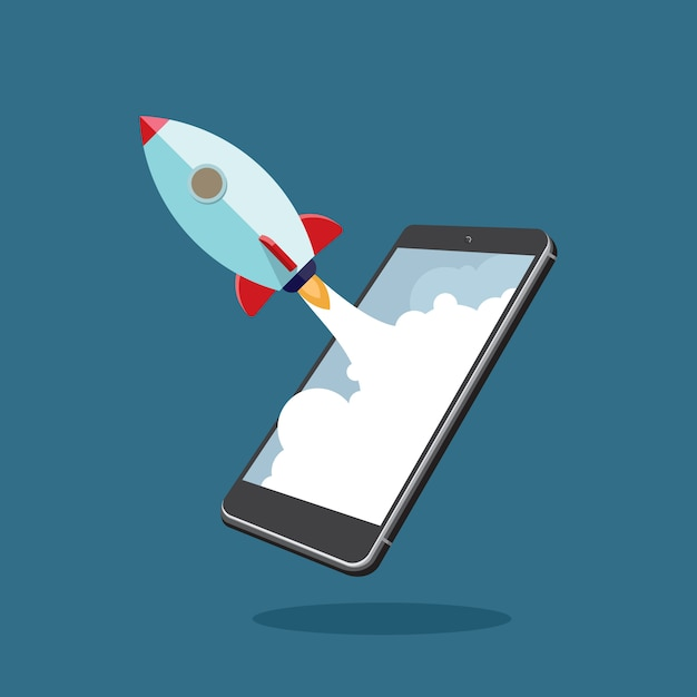 Negócio de start-up usando smartphone Vetor Premium