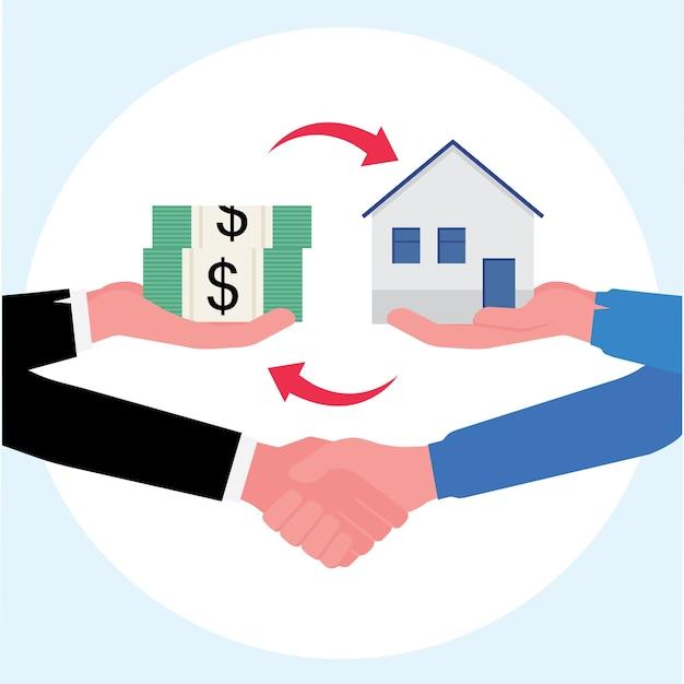 Negócio imobiliário mostrando acordo final de compra de uma casa de câmbio com dinheiro e um aperto de mão Vetor Premium