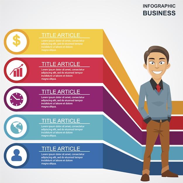Negócio, infographic, feliz, homem, personagem Vetor grátis