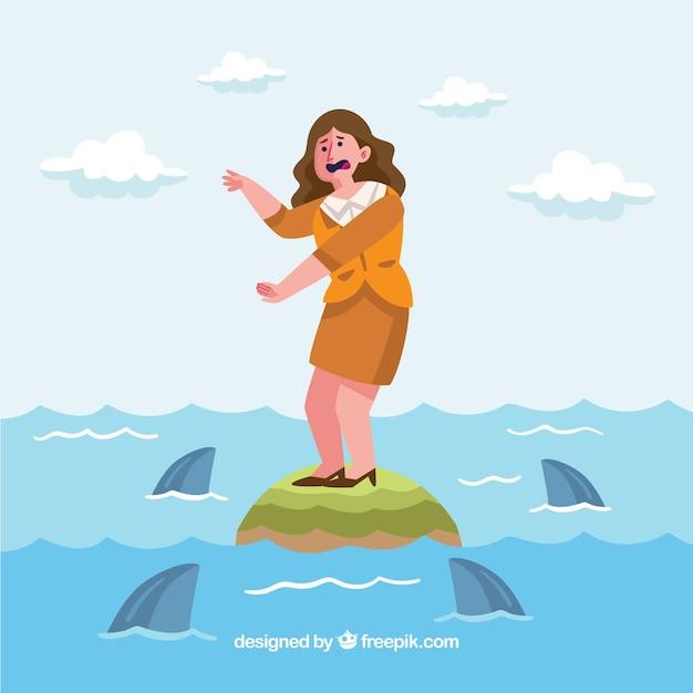 Negócio, mulher, cercado, tubarões Vetor grátis
