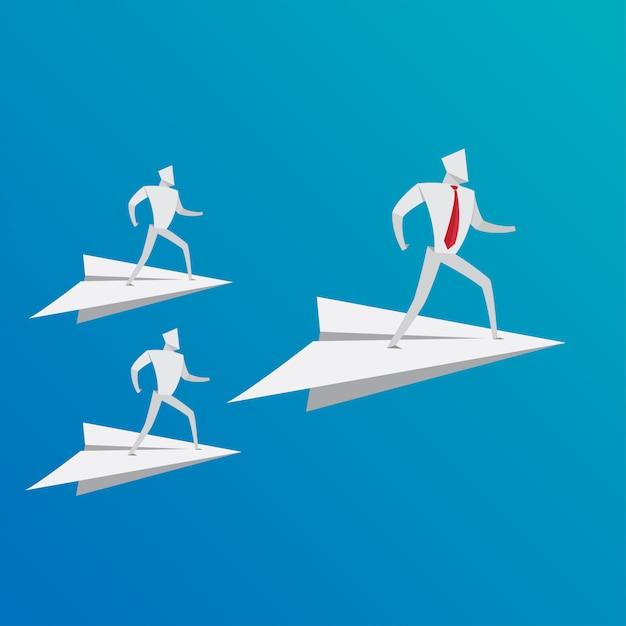 Negócio, pessoas, conceito, negócio, equipe, conduzir, avião, papel, origami, estilo Vetor Premium