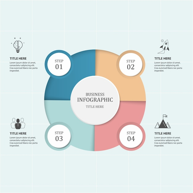 Negócios 4 passo processo infográficos com círculos de passo. Vetor Premium