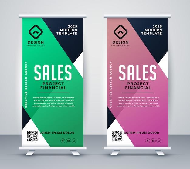 Negócios arregaçar banner ou modelo de design de standee Vetor grátis
