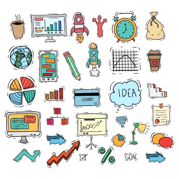 Negócios conjunto de ícones ou elementos com estilo colorido doodle Vetor Premium