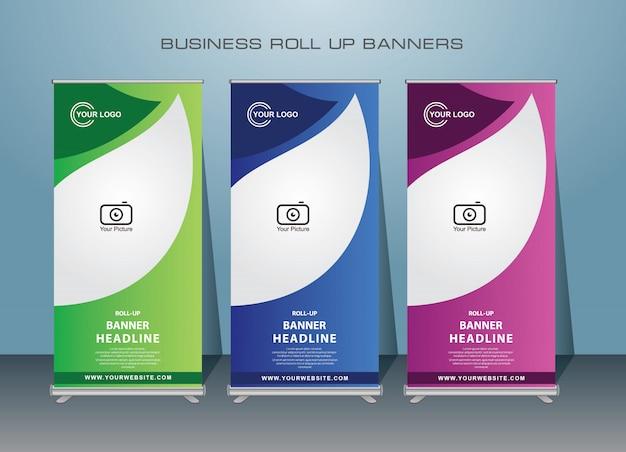 Negócios criativos roll up banner. design de banner em pé. Vetor Premium