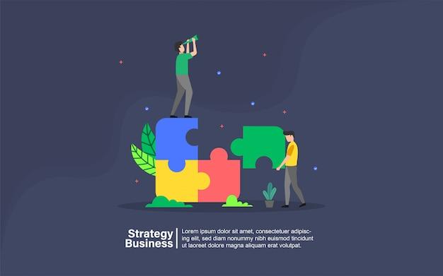 Negócios de estratégia com banner de personagem de pessoas Vetor Premium