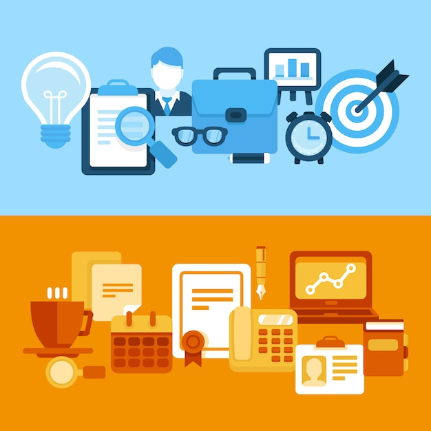 Negócios de vetor e estilo plano de managementin Vetor Premium