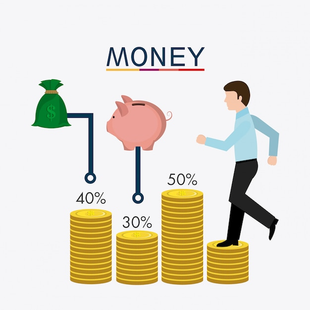Negócios, dinheiro e recursos humanos Vetor grátis