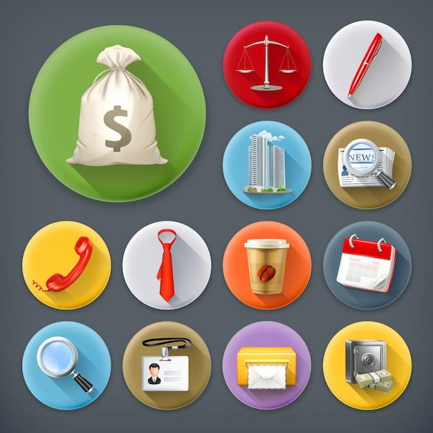 Negócios e escritório, longo conjunto de ícones de sombra Vetor Premium