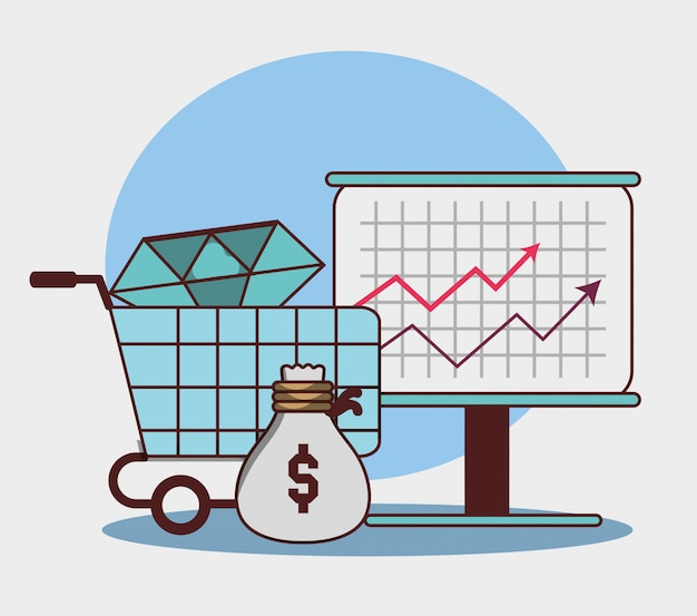 Negócios financeiro seta economia crescimento saco dinheiro diamante Vetor Premium