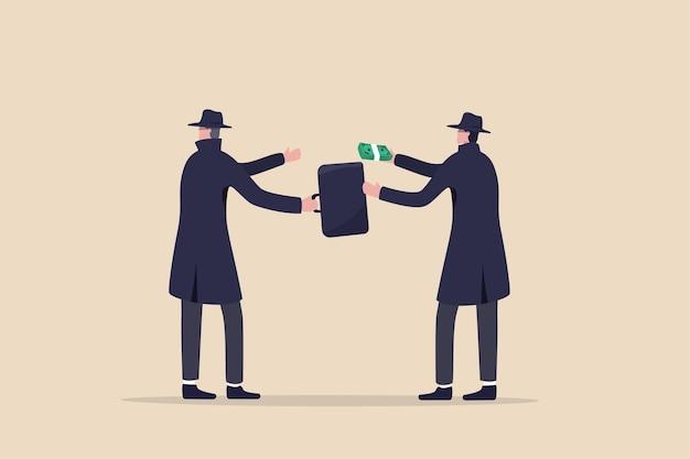 Negócios fraudulentos, suborno, trapaça e corrupção ou hacker que rouba dados e os vende na dark web Vetor Premium