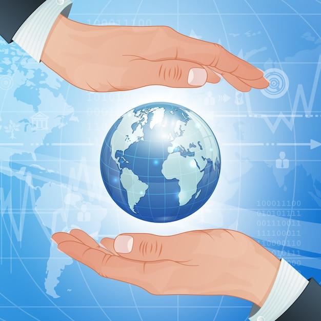 Negócios globais e meio ambiente protegem Vetor Premium