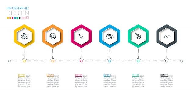 Negócios hexágono rótulos forma infográfico grupos bar. Vetor Premium