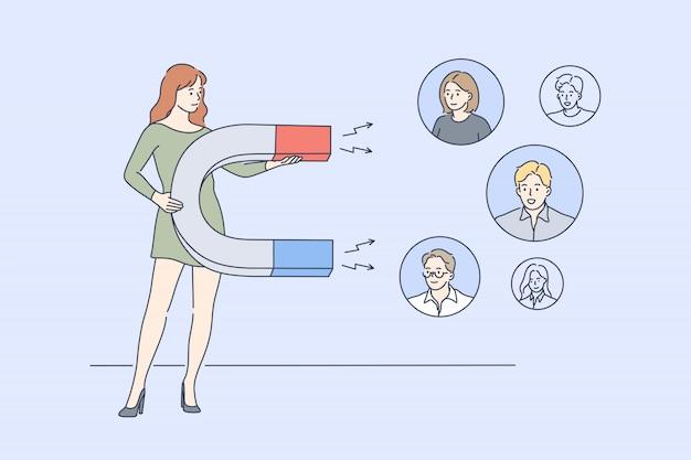 Negócios, marketing digital, promoção, publicidade, conceito de mídia social Vetor Premium