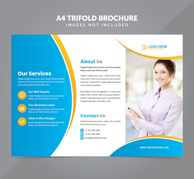Negócios multipropósito a4 modelo de vetor de brochura com três dobras Vetor Premium