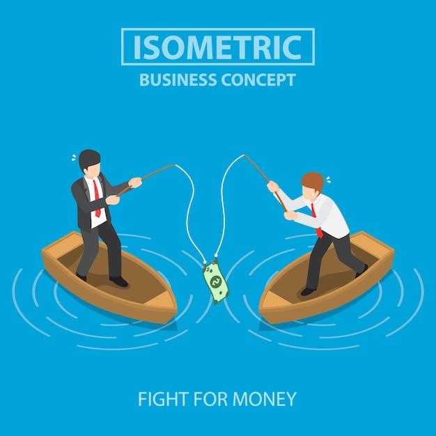 Negócios tentando obter a nota de um dólar com uma vara de pescar. conceito de competição de negócios. Vetor Premium