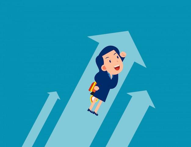 Negócios voando. trabalhadores do crescimento, conceito de estilo dos desenhos animados Vetor Premium