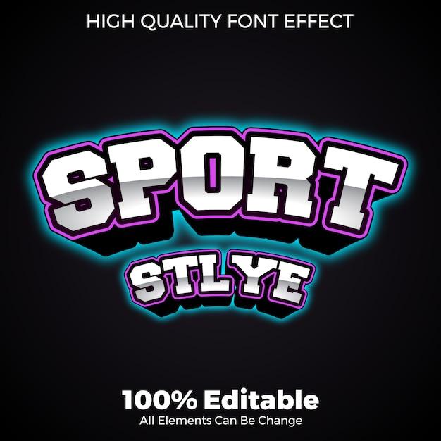 Negrito com fonte editável de estilo esportivo de efeito de brilho de néon Vetor Premium