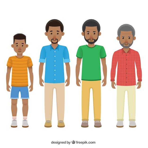 Negros em diferentes idades Vetor grátis