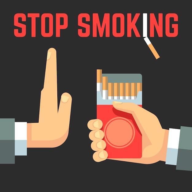 Nenhum conceito de vetor de fumar. mão com cigarro e mão com gesto de rejeição Vetor Premium