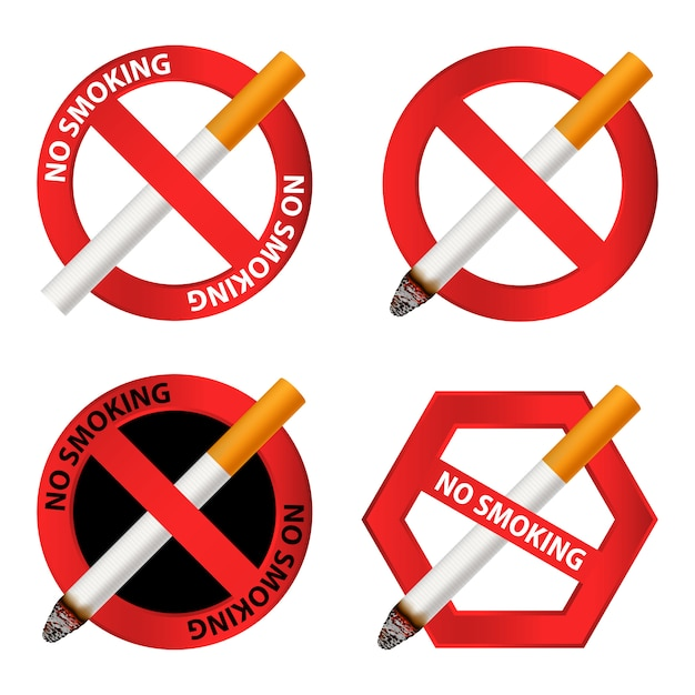 Nenhum conjunto de ícones de fumar Vetor Premium