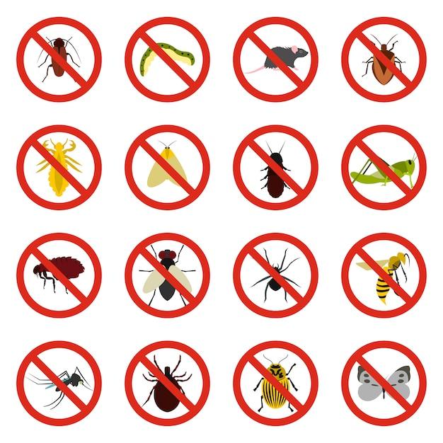 Nenhum conjunto de ícones de sinal de insetos Vetor Premium
