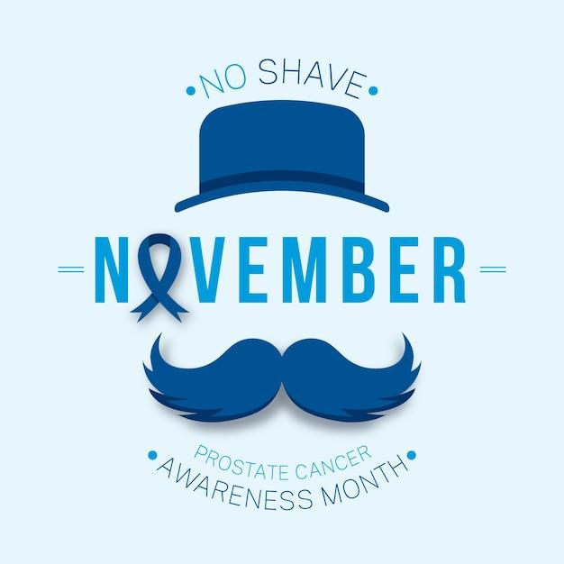 Nenhum mês de conscientização sobre o barbear para câncer de próstata Vetor Premium