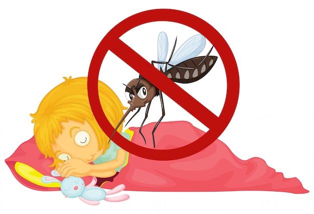 Nenhum mosquito enquanto menina dormindo Vetor grátis