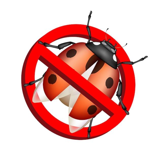 Nenhum vetor de sinal de proibição de bug no fundo branco Vetor Premium
