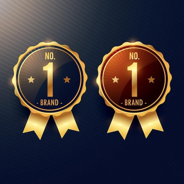 Nenhuma etiqueta e emblema dourados de uma marca em duas cores Vetor grátis