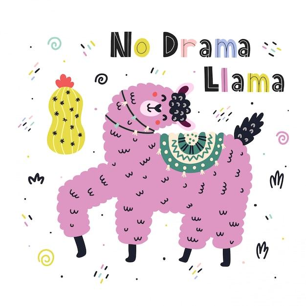Nenhuma impressão engraçada de drama llama com letras de mão desenhada, com uma alpaca bonita e citações em estilo escandinavo. Vetor Premium