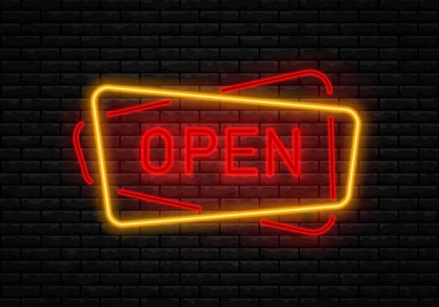 Néon abre sinal na parede de tijolos. Vetor Premium