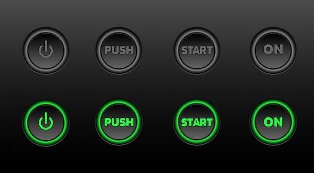 Neon botões vector conjunto de ícones no bacground preto Vetor Premium