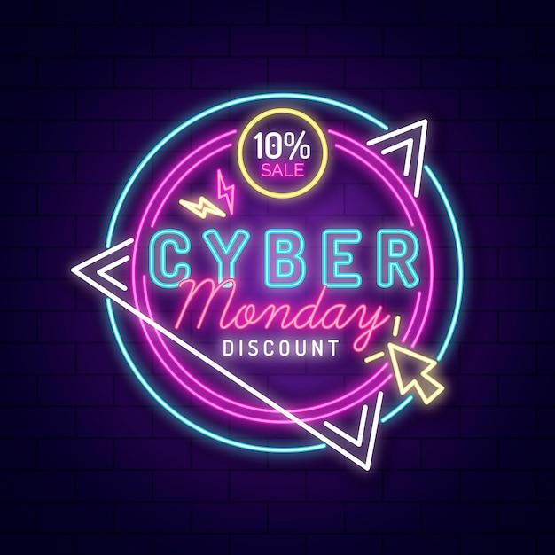 Neon cyber segunda-feira Vetor grátis