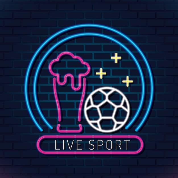 Néon de futebol esporte ao vivo Vetor Premium