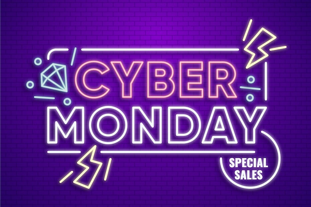 Neon design cyber segunda-feira Vetor Premium