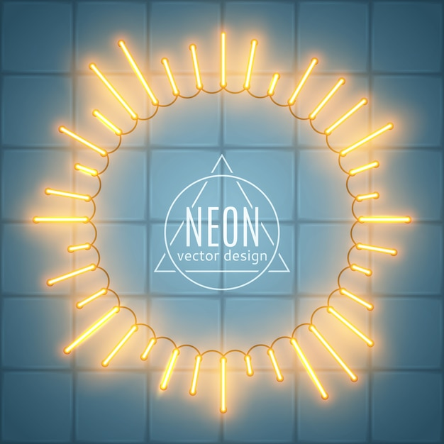 Neon frame sunburst shape raios brilhantes de luz Vetor Premium