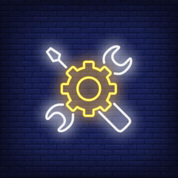 Neon ícone de ferramentas mecânicas Vetor grátis