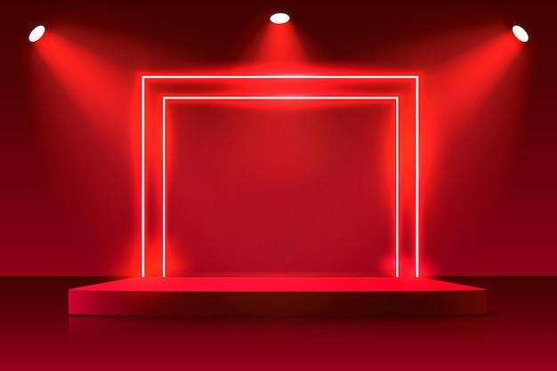 Neon show luz fundo vermelho do pódio. Vetor Premium