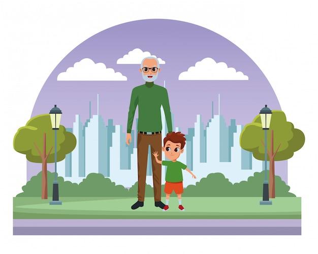 Neto e avô de mão Vetor Premium