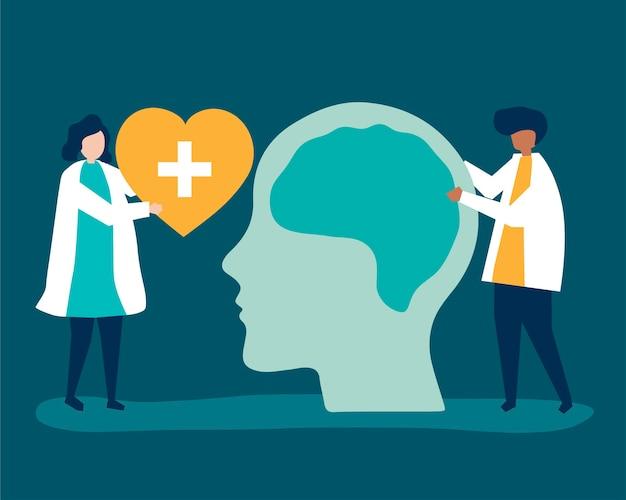 Neurocientistas com um gráfico gigante do cérebro humano Vetor grátis