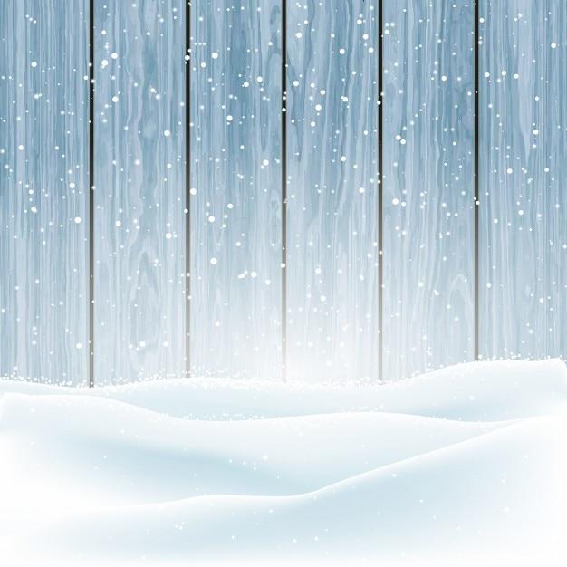 Neve do inverno do natal em um fundo de madeira Vetor grátis